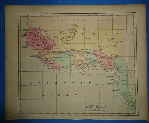 Antique 1856 Hand Colored LIBERIA - WEST AFRICA MAP Old Authentic Vintage Map