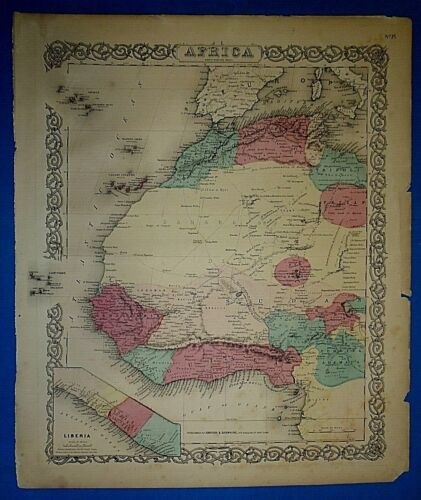 Antique 1860 Colton's Atlas Map AFRICA - LIBERIA - MOROCCO - ALGERIA - SAHARA