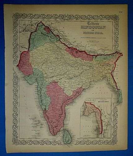 Antique 1860 Colton's Atlas Map ~ BRITISH INDIA - HINDOSTAN ~ Old & Authentic
