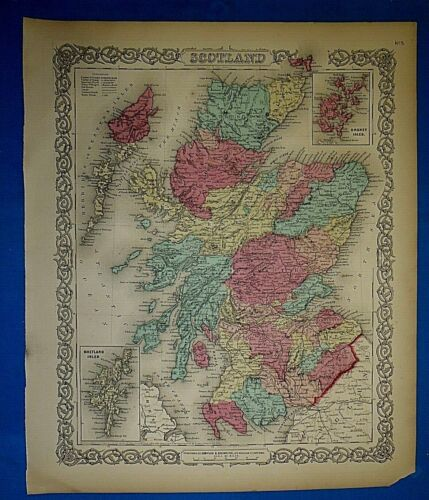 Antique 1860 Colton's Atlas Map ~ SCOTLAND ~ Old & Authentic ~ Free S&H