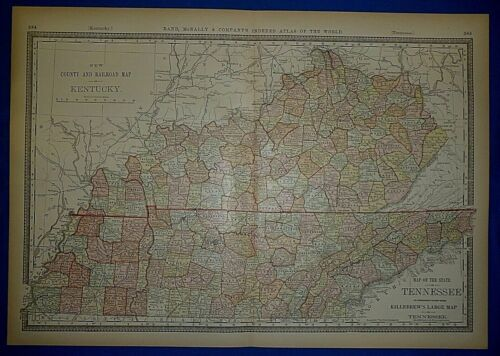 Vintage 1886 Rail Road & County Map ~ KENTUCKY & TENNESSEE ~ Old & Authentic