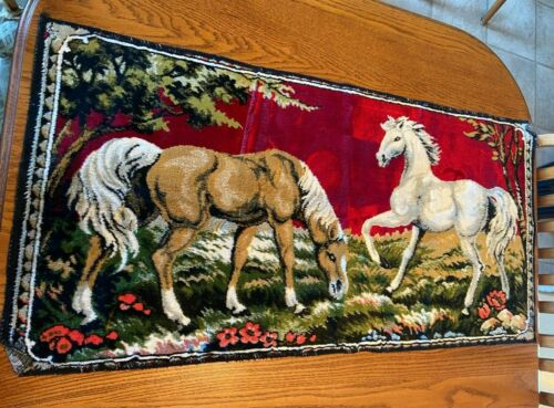 """Nice Vintage Wall Tapestry 2 Horses Cotton Rayon Blend? 40"""" by 20"""""""