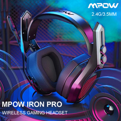 MPOW Iron Pro Gaming Headset Wireless /Wired MIC Headphones Surround for PS4/PC