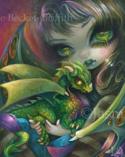 Jasmine Becket-Griffith art print SIGNED Darling Dragonling VI baby dragon fairy