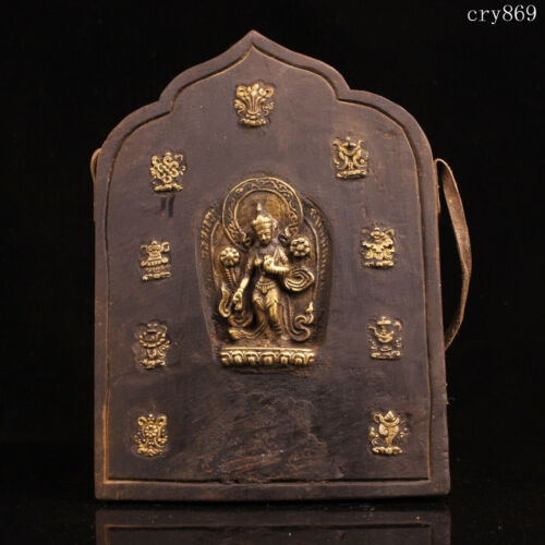 collection old Tibet antique Pure copper wood Copper inlay Green Tara Thangka
