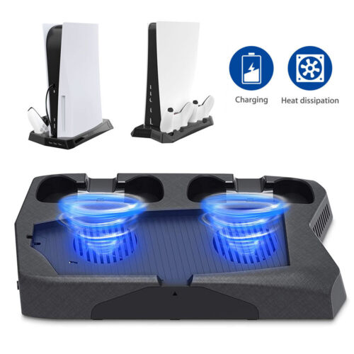 For PS5 All-in-One Vertical Stand Holder Fan Controller Charging Station Dock