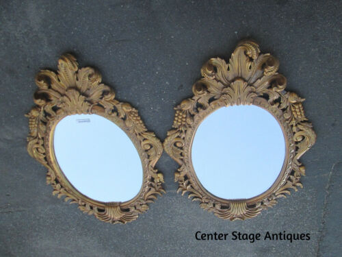 51057 PAIR  Large QUALITY  Fancy Decorator Gold Mirrors