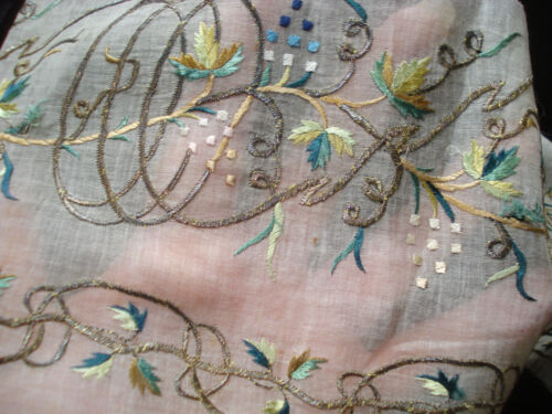 antique 18th century sheer silk and gold embroidered muslin