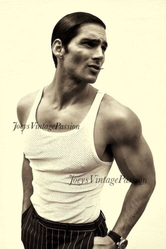 """Vintage Hot Handsome Man with Wife Beater T-Shirt Gay Interest 4""""x6"""" Reprint G24"""