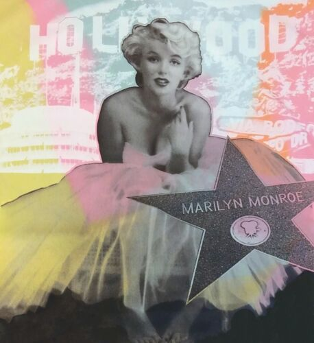 """STEVE KAUFMAN """"HOLLYWOOD MARILYN""""   UNIQUE PAINTED CANVAS 48X48""""   MAKE AN OFFER"""