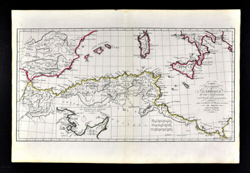 1818 D'Anville Map Ancient North Africa Carthaginian Empire Carthage Numidia