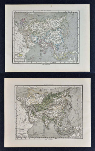 1880 Sydow Maps x 2 - Physical & Political Asia China Japan India Arabia Tibet