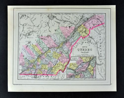 1887 Mitchell Map Quebec Montreal City St. Lawrence Sopel St. Anne John's Michel