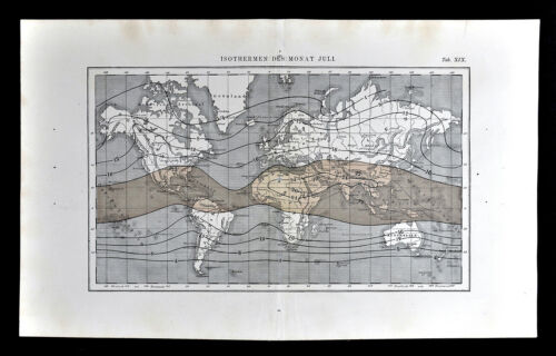 1872 Muller World Weather Map Isothermal Lines for July Summer Temperatures