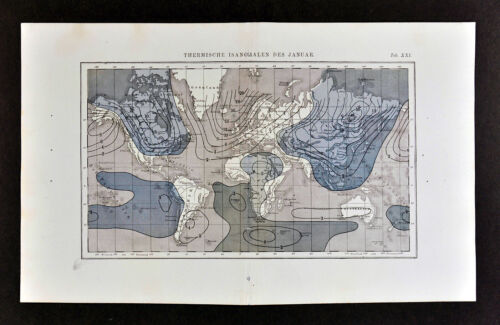 1872 Muller World Weather Map Isanomal Lines for January Temperatures Climate
