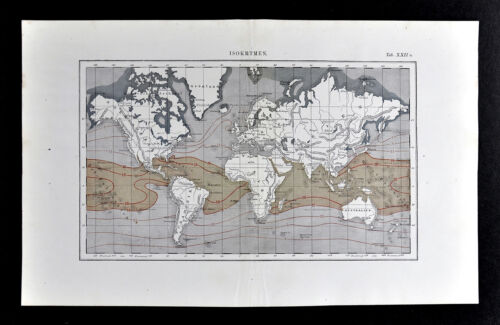 1872 Muller World Weather Map Isocryme Lines Mean Temperature Winter Climate