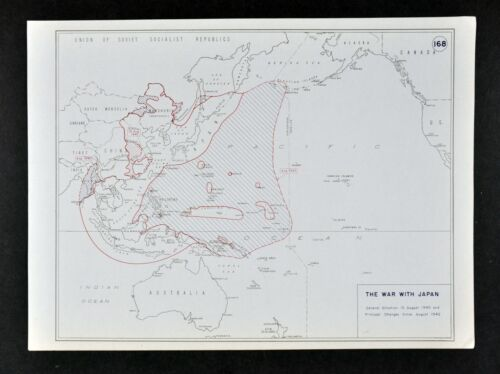 West Point WWII Map War Japan Burma China South Pacific Situation Aug. 1945