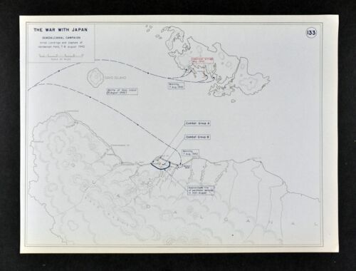 West Point WWII Map War with Japan Battle of Guadalcanal Solomon Islands Aug. 7