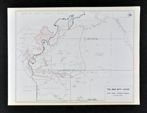 West Point WWII Map War with Japan Japanese Territory South Pacific Asia China
