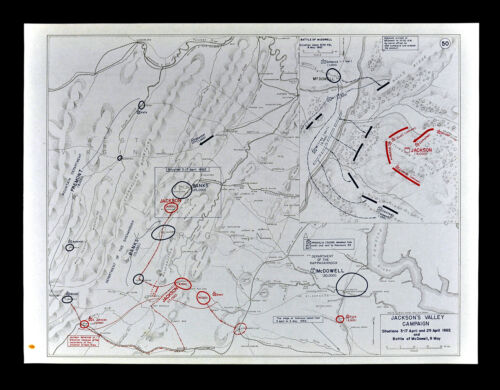 West Point Civil War Map Jackson's Valley Campaign Battle of McDowell Virginia
