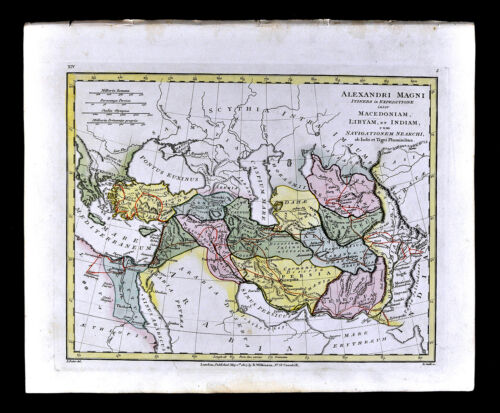 1807 Wilkinson Map Alexander the Great Empire Route Greece Turkey Middle East