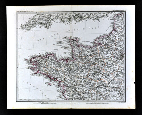 1875 Stieler Map NW France Brittany & Normandy Brest Nantes Le Havre Dieppe Caen