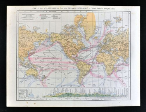 1881 Andrees World Map Ocean & Wind Currents Climate Zones Mountain Chart Biome