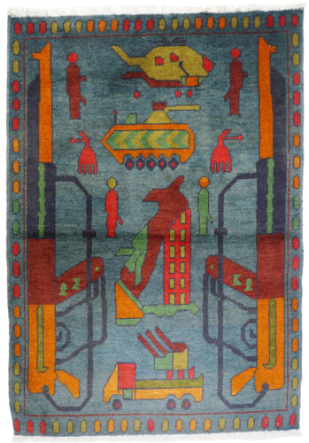 """45,2"""" x 32,2"""" hand-knotted War rug Afghanistan Panzer fighting jet USA Army 21/K"""