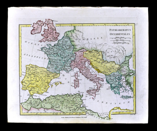 1800 Wilkinson Map Western Patriarchs Europe Rome Italy France Spain Greece Roma
