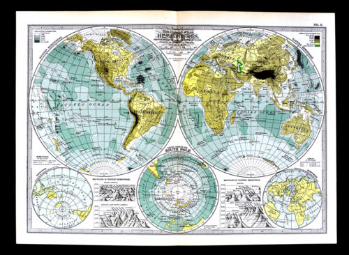 1902 Century Map Physical World in Hemispheres South Pole Antarctica Mountains