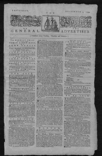 PENNSYLVANIA PACKET OR THE GENERAL ADVERTISER 1779 ORIGINAL RARE NEWSPAPER