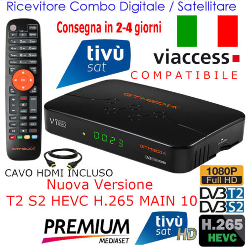 Decoder Combo Tivusat HD Digitale Terrestre Dvb-T2 Satellitare Tv Sat Ricevitore