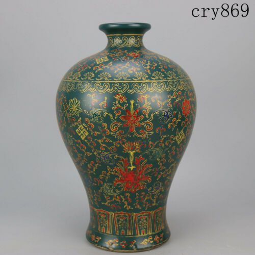 China antique Yongzheng Sign Malachite Green Glaze Add color Floral pattern vase