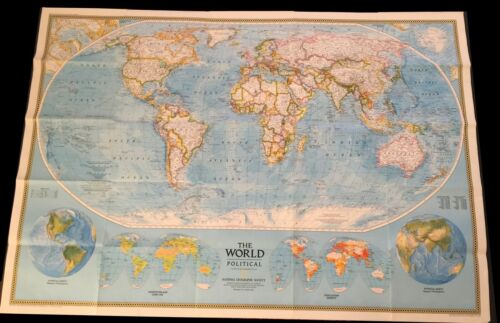 National Geographic Society THE WORLD MAP Physical Political 1994 43 x 30 inches