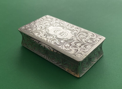 Early Victorian English Sterling Silver Snuff Box Case - Hallmarked