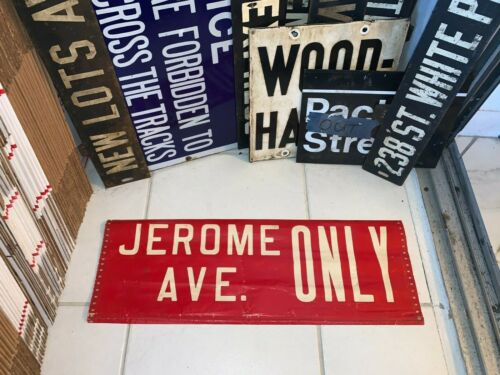 NY NYC BUS ROLL SIGN JEROME AVENUE BRONX VINTAGE COLLECTIBLE PRIMITIVE DECOR ART