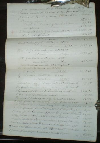 1870, APPRAISAL OF THE PROPERTY OF ANN REEVES, MANUSCRIPT DOCUMENT