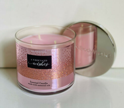 NEW! BATH & BODY WORKS WHITE BARN 3-WICK SCENTED CANDLE - A THOUSAND WISHES