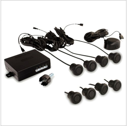 8 Front & Back Rubber Parking Sensors Kit with Buzzer for Metal Bumpers/Bars