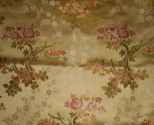 antique French Floral Silk Brocade Fabric ~Rose Pink  Tangerine Olive Soft Gold