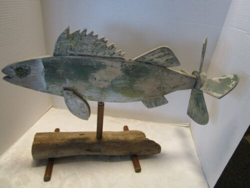 "Vintage Primitive wood Folk Art Fish Weather Vane whirligig 21 ½"" wide on stand"