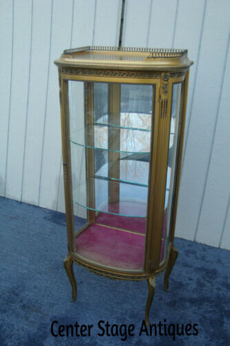61738 Gold Bow Glass Lighted Curio Cabinet Etergie