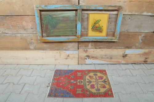 """1'5"""" x 2'4"""" Ft Red and Blue Home Decor, Handmade Turkish Vintage Oushak Rugs"""