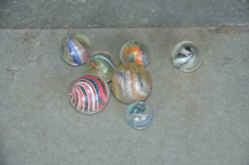 7 Pc Vintage Colorful Round Glass Spiral,Ribbon Design Balls/Marble