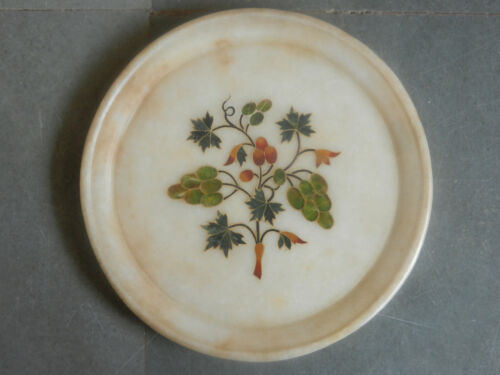 Vintage Round Stone Grapes Inlay Design White Marble Stone Plate
