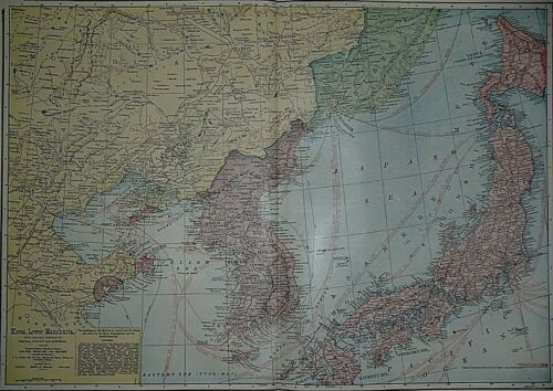 Rare Vintage 1911 Atlas Map ~ KOREA - LOWER MANCHURIA Old & Authentic ~ Free S&H