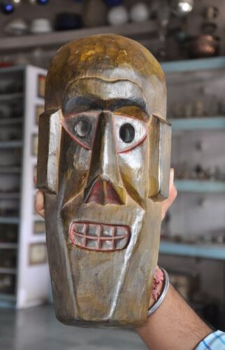 Old Wooden Handcrafted Long Unique Shape Tribal Man Face Mask
