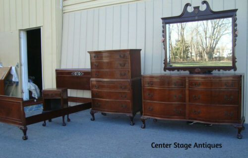 00001  Antique Bed Room Set Full Bed High chest Dresser w/ mirror nightstand