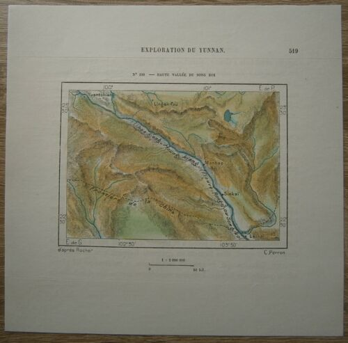 1882 Perron map UPPER VALLEY OF RED RIVER, YUNNAN, CHINA (#100)