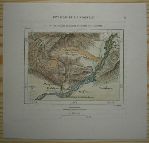 1883 Perron map PLACE WHERE ALEXANDER THE GREAT CROSSED JHELUM RIVER, PUNJAB (#3